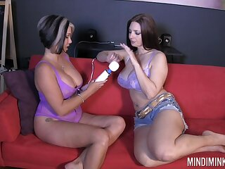 Four lord it over juggy housewives are testing a new vibrator