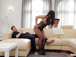 Seductive inferior in transparent lingerie, exclusive couch POV