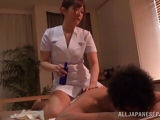 Oiled masseur Kokomi Naruse gets fucked hard overwrought her client