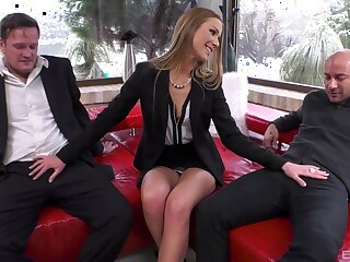 Office babe handles these two big dicks with great hope