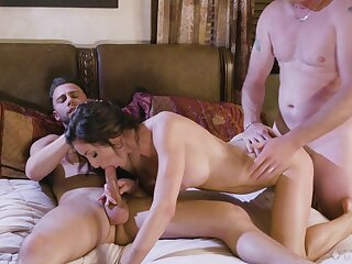 Needy brunette bends for a double flick