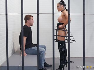 Rapacious tanned brunette is fond of riding strong cock withershins pose